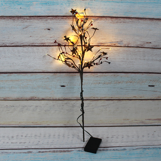 Led Light Branch Pip Berry With Rusty Star Spary Home Decor Room Decoration Party Supplies Wedding Flowers Battery