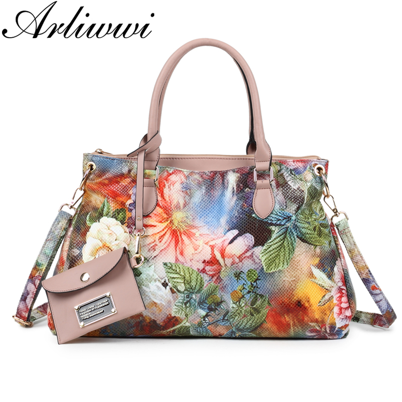 1c96ad8be7b Arliwwi Brand Women High Quality Synthetic Leather Large Floral Tote  Handbags And Purses Multi Pockets Flower Messenger Bags New