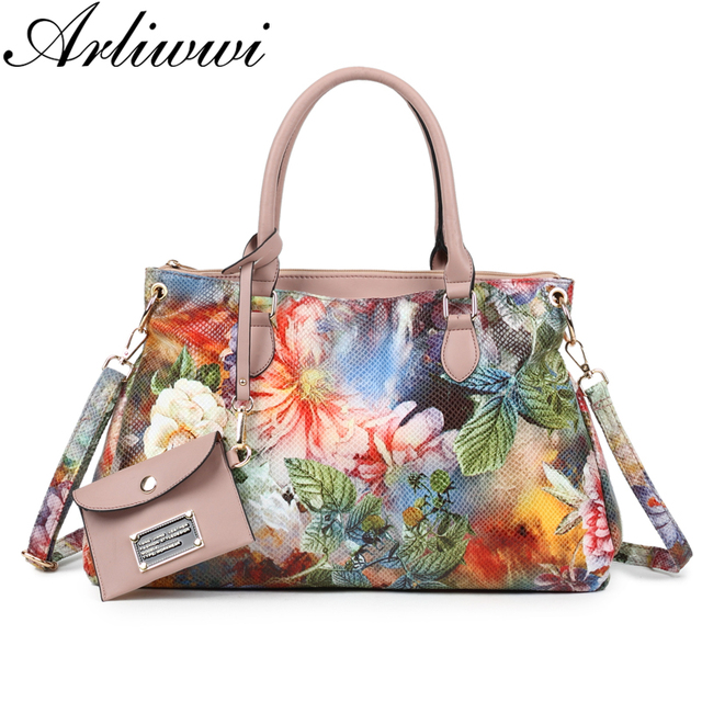 34a32eaf3622 Arliwwi Brand Women High Quality Synthetic Leather Large Floral Tote  Handbags And Purses Multi Pockets Flower Messenger Bags New