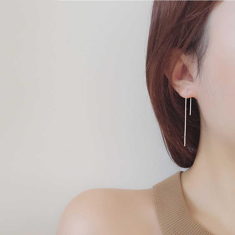 INZATT Trendy Nyata 925 Sterling Silver Tongkat Bar Menjuntai Drop Earrings Brincos Fashion Jewelry 2018 Untuk Wanita Partai Minimalis