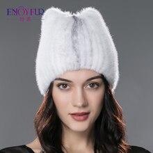 ENJOYFUR winter fur hat for women real mink fur strip cap solid casual hats knitted fur hats 2017 brand new fashion headgear hat