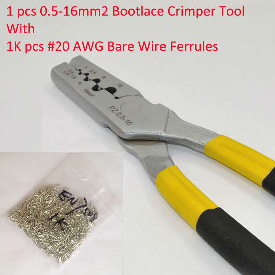 PZ0.5-16 0.5-16mm2 Crimping Tool Bootlace Ferrule Crimper and 1K #20 AWG EN7508 Bare Bootlace Wire Ferrules free shipping 1000pcs bootlace ferrule kit electrical crimp crimper cord wire end terminal