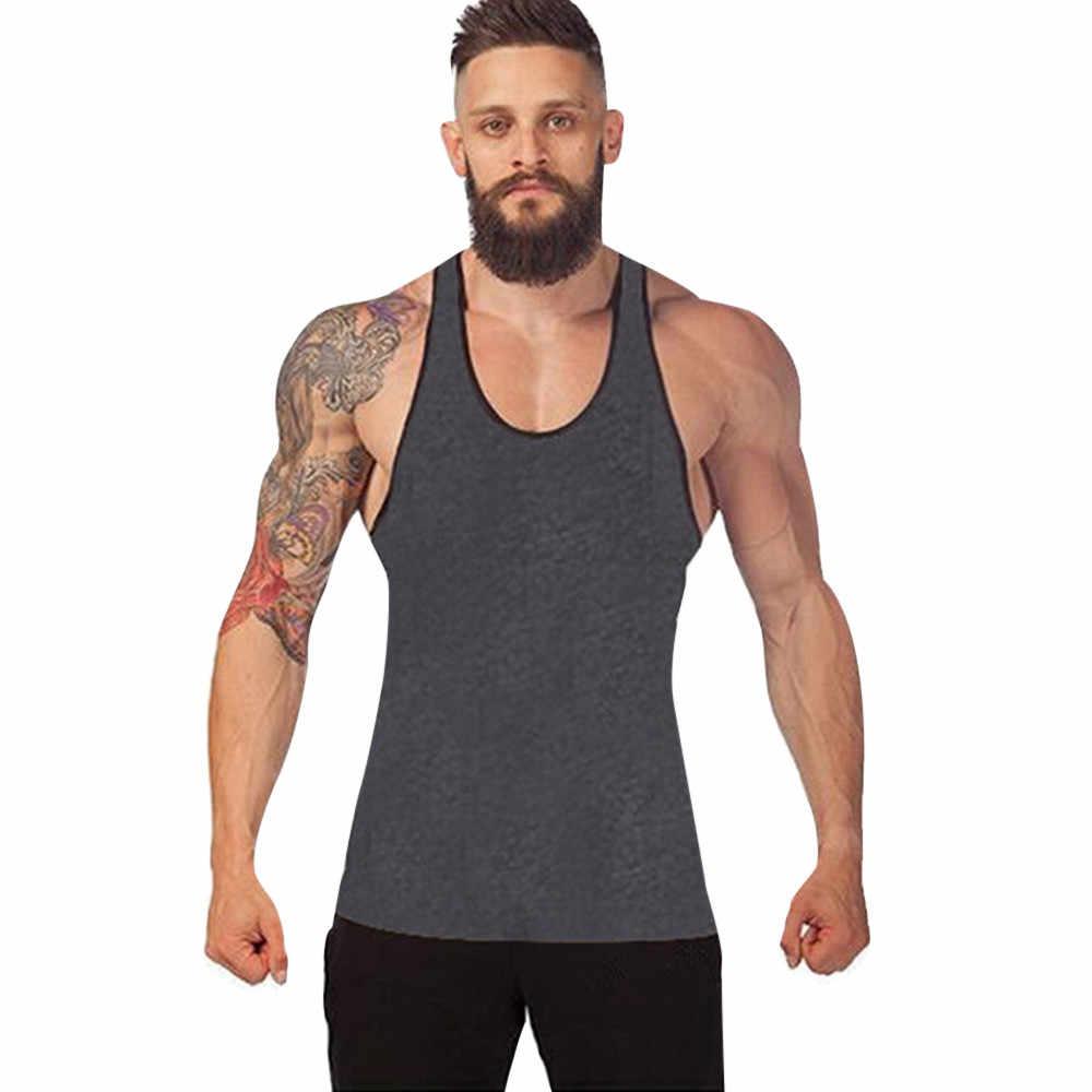 男性ジムボディービルタンクトップベストレーサーバックシングレットベストスポーツノースリーブ男の服 debardeur オム camiseta デ tirantes hombre