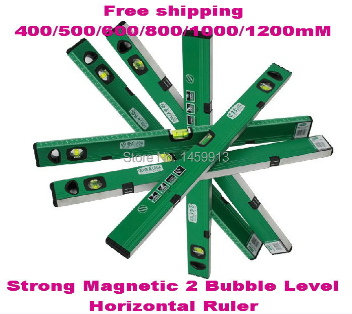 Free shipping 400/500/600/800/1000/1200mm Strong Magnetic Bubble Level/Horizontal Ruler/  for professional measuring free delivery level 24 in lightweight hard plastic 3 bubble triple ruler measure tool