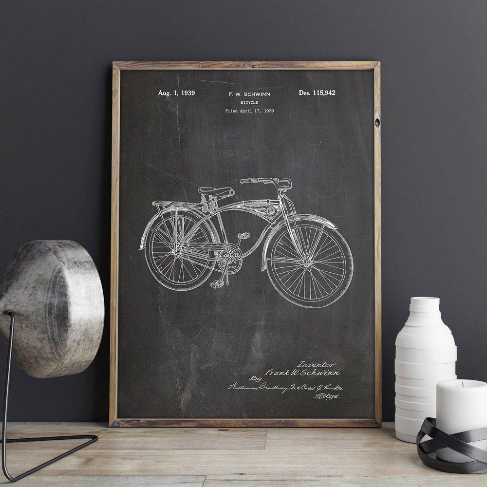 1939 Classic Vintage Schwinn Bikes Bicycle Patent Poster Art Print Cycling Gifts