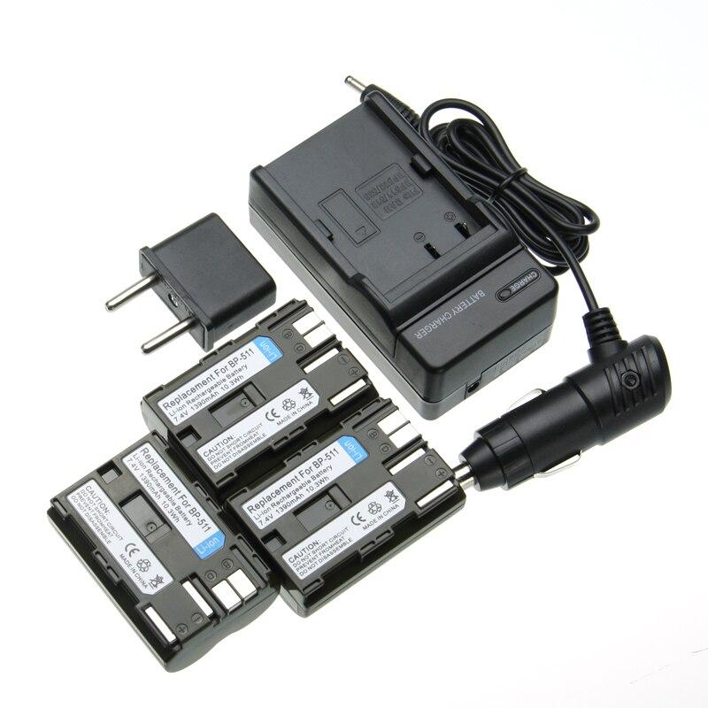 387499c4f5 Precio de fábrica recargable 1390 mAh 3 unids batería BP-511 + BP511  cargador + coche para Canon 10D 20D 20Da 300D 30D 5D