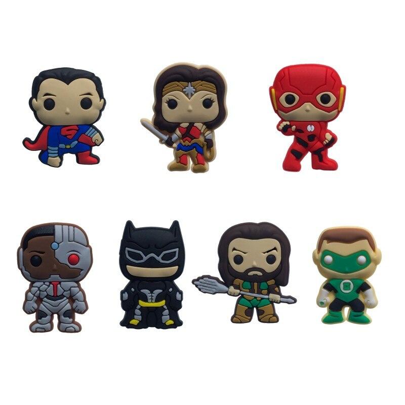 New 1pcs Justice League Wonderman Flash Batman PVC Shoe Charms Accessories Buckles Fit Bracelets Croc JIBZ Kid Party Gifts