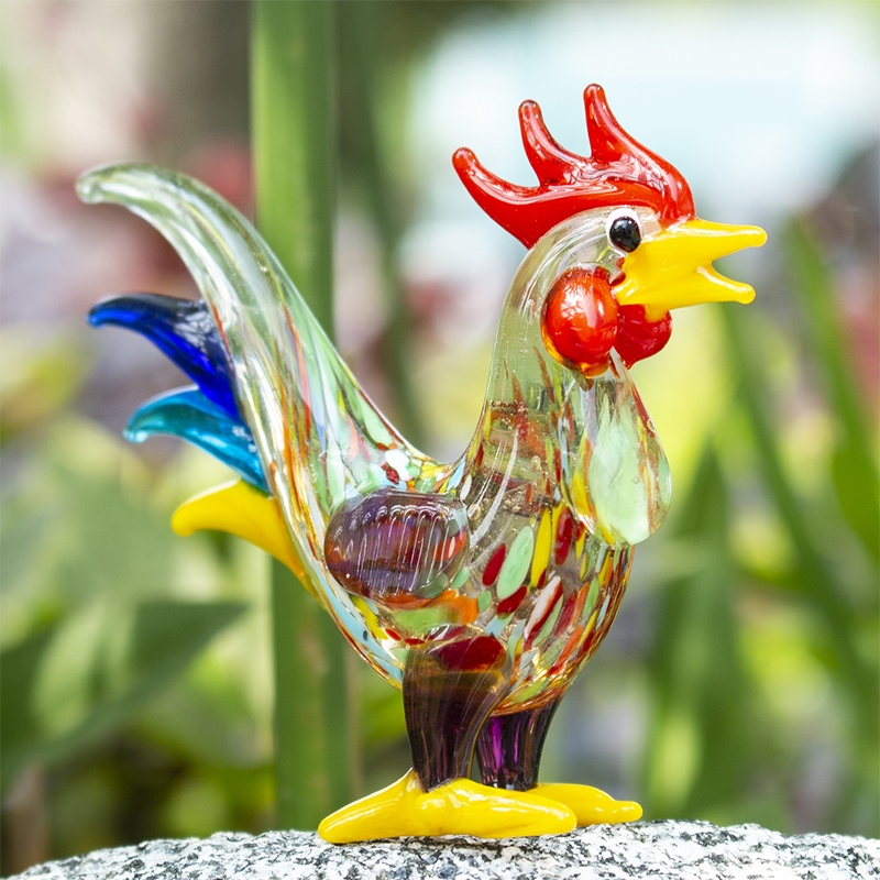 "New 6/"" Large Hand Blown Art Glass Rooster Chicken Bird Figurine Sculpture Statue"