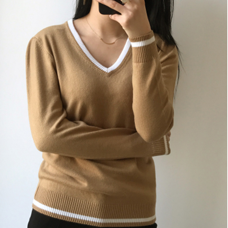 2018 spring new V-neck sweater pure cashmere sweater women loose lazy casual spell color sweater large size sweater ny collection new blue women s size large l wide knit v neck sweater $60 083
