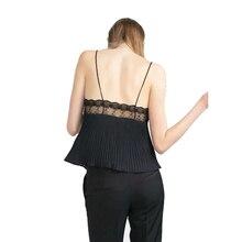2016 Summer Chiffon Shirt Women Tops Sexy Backless Spaghetti Strap Tank Top With Lace Trim Fashion Camisoles Tanks Undershirt