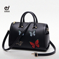 ECOSUSI Women Cross Body Bag Barrel-shaped PU Women Shoulder Bag Messenger Bags With Butterfly Embroider Fashion Ladies Handbags