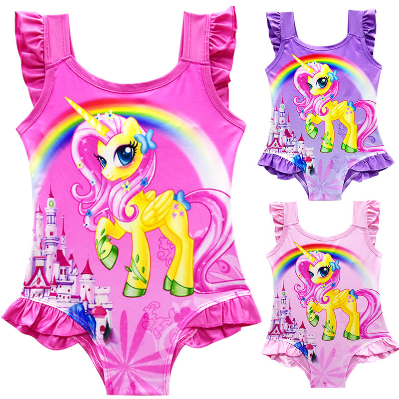 2018 New Baby Girls Summer Dress Swimsuit Children Cartoon pony Swimming Bikini Bathing Suit Vestidos Costume Kids Clothing summer baby kids girls swimwear hot spring swimsuit wavy dots cute dolphin swimming suits bikini children beach bathing suit