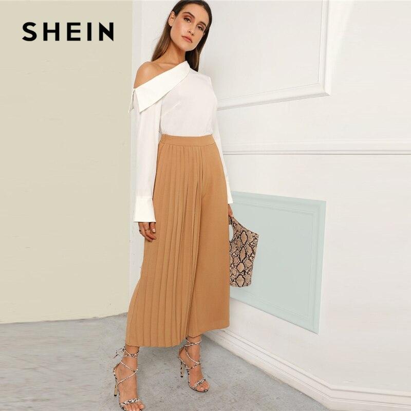 SHEIN Khaki Boho Pleated Panel Wide Leg Loose Plain Crop Pants Women 2019 Spring Mid Waist Workwear Elastic Waist Trousers