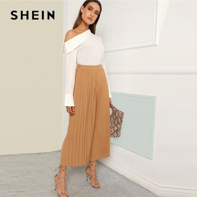 715e58063f SHEIN Khaki Boho Pleated Panel Wide Leg Loose Plain Crop Pants Women 2019  Spring Mid Waist
