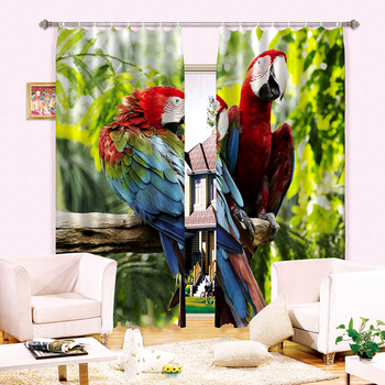 Новые 3D затемненные занавески Красный Зеленый попугай на ветке дерева узор Моющаяся Ткань Штора для детской комнаты для гостиной кафе 360*270 ...