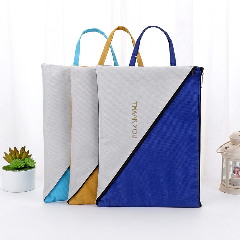 Creative Portable Large Oxford Cloth Bag Student Multi-functional Double Zipper Storage Bag Filing Products