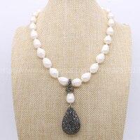 Naturalne perły ręcznie druzy naszyjnik duże perły i czarna kropla wisiorek koraliki 16