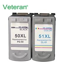 Ветеран PG50 CL51 чернильный картридж для Canon pg 50 cl 51 PG-50 CL-51 Pixma iP2200 iP6210D iP6220D MP150 MP160 MP170 MP180 принтер
