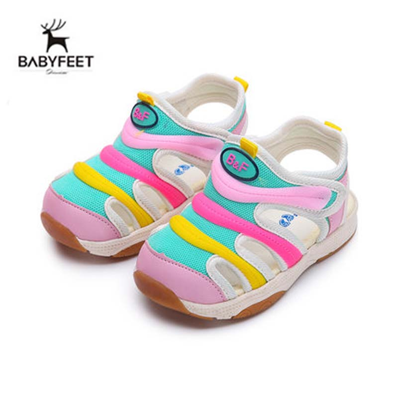 Babyfeet Baby Girl Comfort Sandal Summe Infant Girl Summer Outdoor High Quality Flat Mix color Shoes Soft Non-slip Sole Hot Sale baby girl prewalker shoes infant girl mikey sneakers mouse flower pink soft sole pram shoes sapato infantil menina zapatos bebes