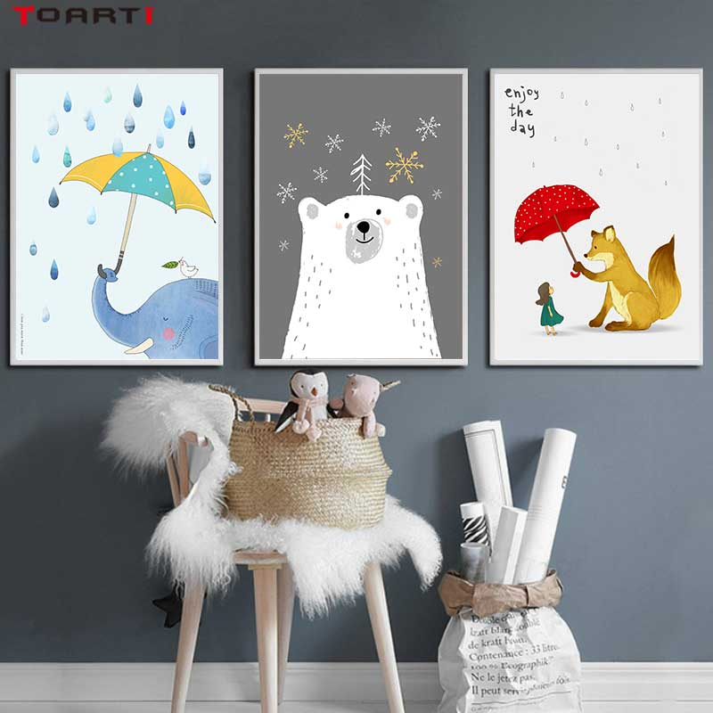 Image 2 - Cartoon Animals With Umbrella Prints Posters Elephant Canvas Painting On The Wall Enjoy The Day Life Quotes Kids Bedroom Decor-in Painting & Calligraphy from Home & Garden