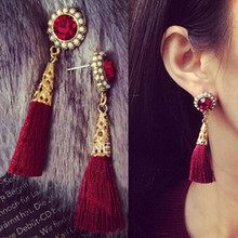 hot deal buy new 2015 baroque style vintage women's jewelry ruby pearls red tassels earrings