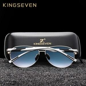 Image 4 - KINGSEVEN TASARıM Erkekler Klasik Polarize Güneş Gözlüğü Alüminyum Pilot güneş gözlüğü UV400 Koruma NF 7228