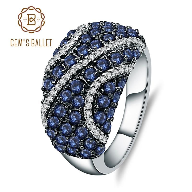 GEM'S バレエナチュラルブルーサファイアリング 925 スターリングシルバー天然宝石用原石女性のギフトヴィンテージファインジュエリー  グループ上の ジュエリー & アクセサリー からの 指輪 の中 1