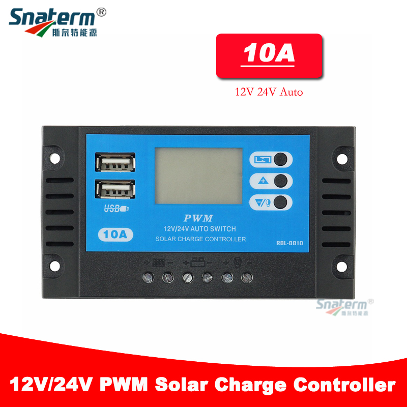 10A Solar Controller 12V//24V Auto Switch Battery Charge Regulator with USB
