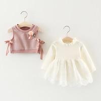 Autumn Flower Kintwear Vest Waistcoat Long Sleeve Baby Lace Tutu Party Girls Kids Princess Infants Dress