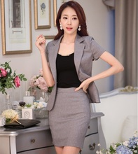 New 2016 Spring Summer Formal Grey Blazer Women Business Suits Skirt Jacket Sets Ladies Office Uniform