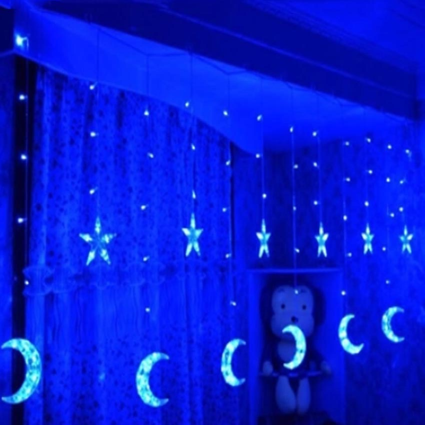 8 models Led Star Curtain Lights Moon Star Icicle String Fairy Light 138 Leds 250CM Length n light 138 08 52