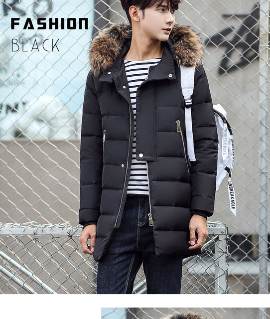 men s winter jacket duck down coat with natural real raccoon dog fur hooded  male warm parkas black army green plus size 2xl 3xl b6149cc71