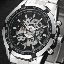 Winner Luxury Brand Automatic Watches Mens Classic Self Wind Skeleton Mechanical Watch Fashion Cross Wristwatch
