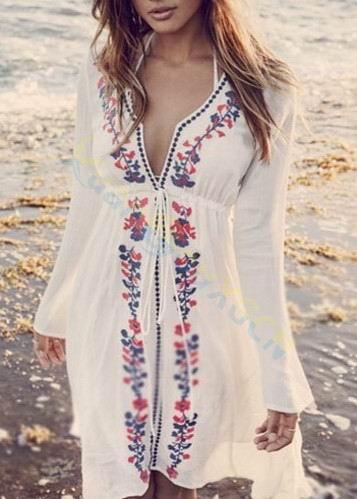 Sexy V Collar Beach Blouses Embroidery Women Tops Summer Shirt Bikini Cover Up Seaside Beachwear Sun Protection Clothing Dress