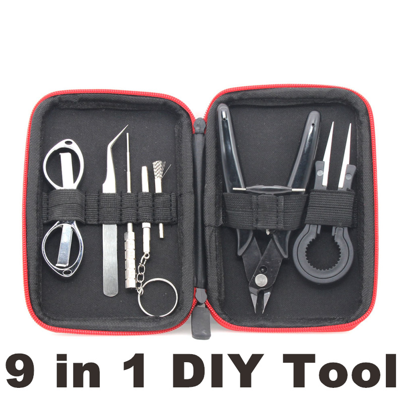 X9 Mini Vape DIY Coil Heating Wire Tool Kit Bag Tweezers Pliers Wire Heaters Kit Coil Jig Winding