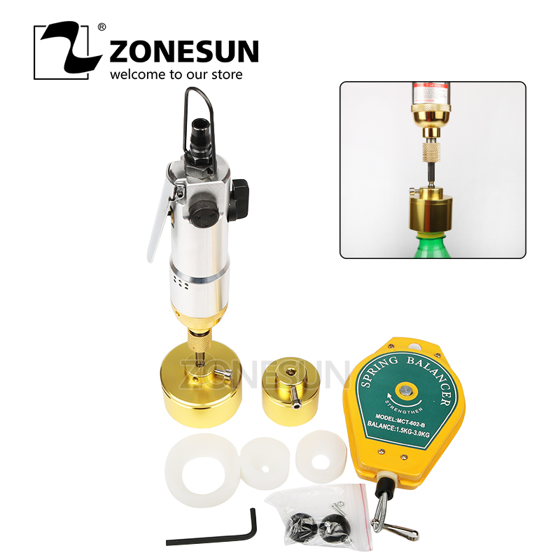 ZONESUN Capping Machine Handheld Pneumatic Power Tools Capping Bottle Packaging Equipment Lid Tightener Capping Diameter 10-50mm