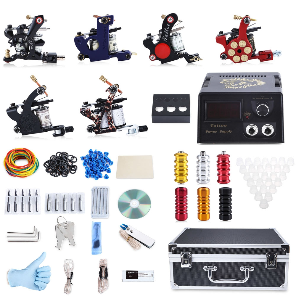2016 Professional Tattoo Kit 6 Machine Guns Shader Liner Power Supply 50 Needles Tip with Store Box Tattoo Set Three Pin US Plug professional tattoo kits liner and shader machines immortal ink needles sets power supply