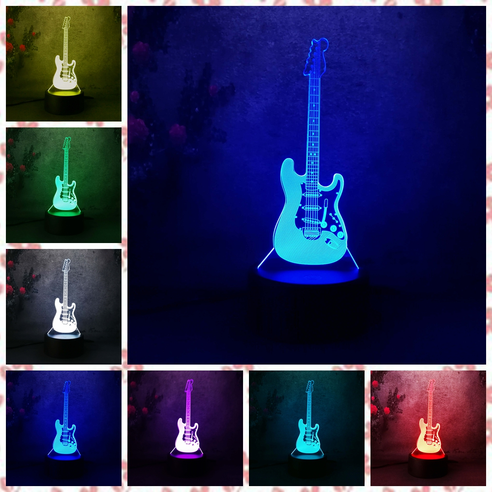 Chiristmas Gift 3D Electric Music Guitar Model Night Light Desk Table Lava Lamp LED 7 Color Change Gradient Baby Child Sleep new 2018 3d planet earth night light desk table lamp color change rc control baby sleep lamp kid halloween christmas gift decor