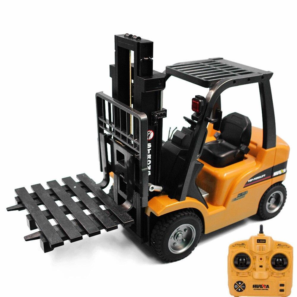 HUINA 1577 2 в 1 1:10 RC Автопогрузчик кран RTR 2,4 ГГц 8CH/360 градусов вращения/Авто демонстрация светодиодный светодиодные детские игрушки