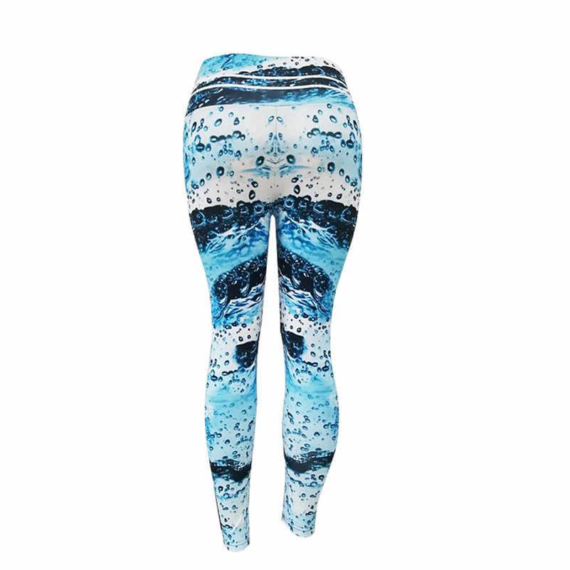 Damskie spodnie sportowe spodnie jogi niebieski nadruk w fale hip wysokiej talii legginsy sportowe damskie spodnie do jogi fitness legginsy gym shark 4as
