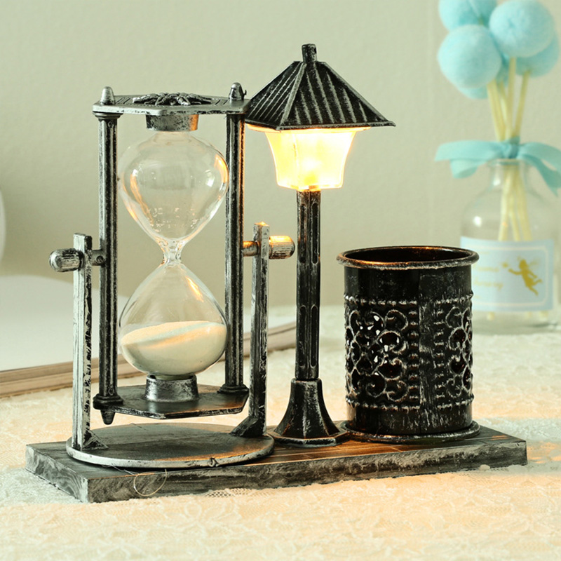 Creative Antique Flowing Sand Street Lamp Pen Holder Student Gift White Hourglass Color Changing Night Light Decoration