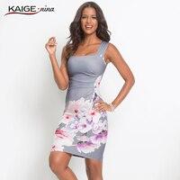 KaigeNina Dress Fashion Women Bodycon Dress Chinese Style Printing Cloth Square Collar Knee Length Knitting Cotton