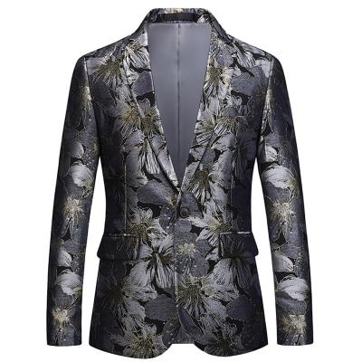 Loldeal Men's Floral Blazer Slim Fit Two Buttons Dinner Jacket Coat