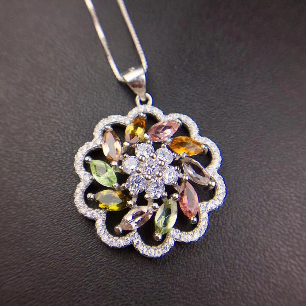 natural Multicolor tourmaline pendant S925 silver Natural gemstone Pendant Necklace elegant Round Hydrangea women party jewelry natural tourmaline pendant s925 silver natural gemstone pendant necklace elegant friendship boat lucky women girl gift jewelry
