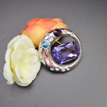 Elegant Personality Big Purple Crystal And Rhinestone Brooches For Women Fine Round Circle Brooches Fashion Jewelry Alloy