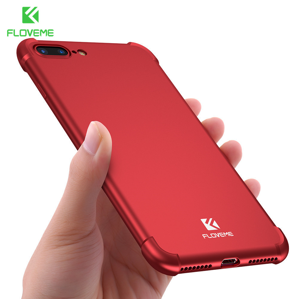 FLOVEME 360 Coverage Anti-knock Case For iPhone 7 6 6S Soft TPU Back Cover PC Front Case For iPhone 6 6S 7 Plus Phone Shell Bag