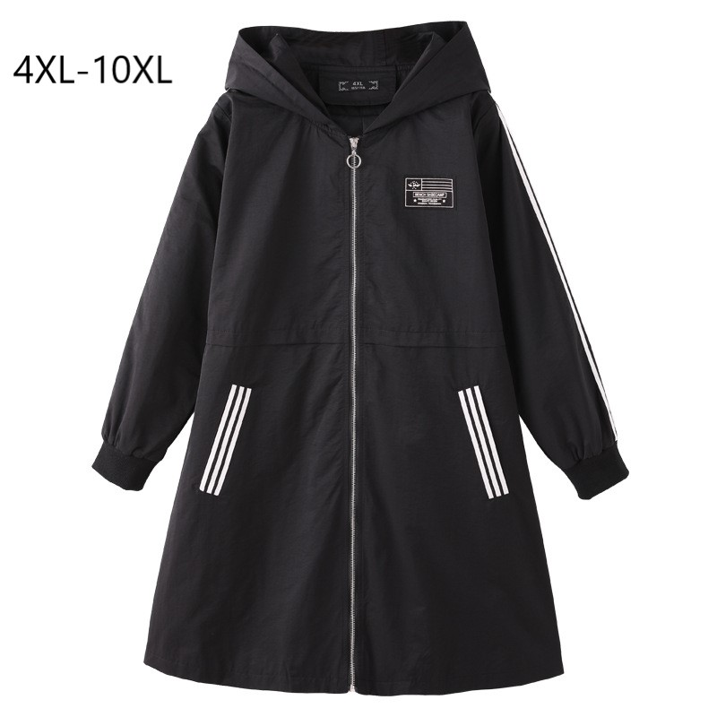 Plus Size 10XL 9XL 8XL 4XL Women Spring Long Sleeves Hooded Coat Female Slim Casual Long Trench-in Trench from Women's Clothing    1