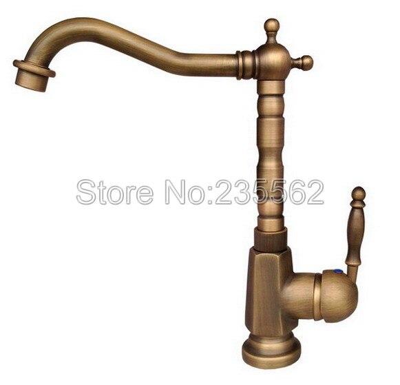 Retro Antique Brass Swivel Bathroom Basin Faucet Single Handle Vessel Sink Mixer Taps Deck Mounted Can036