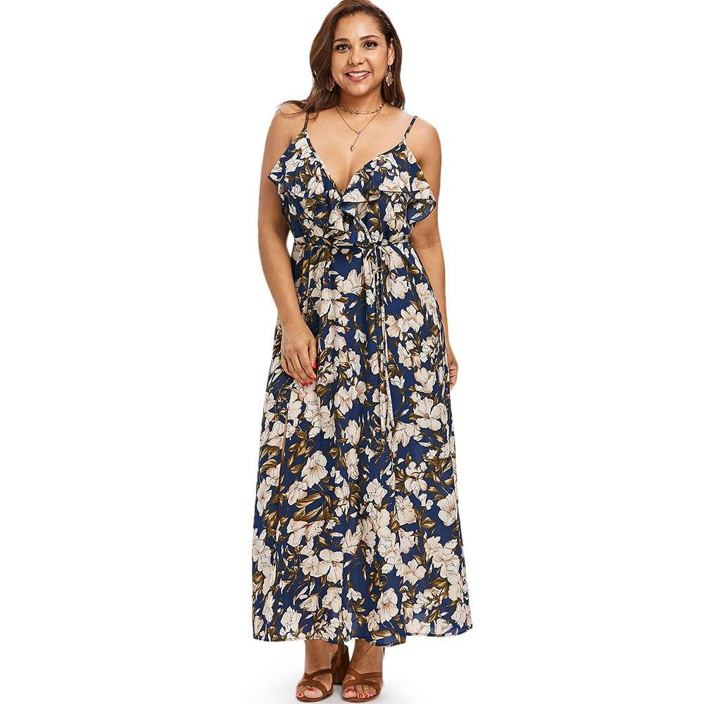 f7627f9a7ab Плюс Размеры Цветочный принт женское платье 2018 Лето Boho Сексуальный  Высокий Разрез Платья Нарядное платье без рукавов большой Размеры дамы .