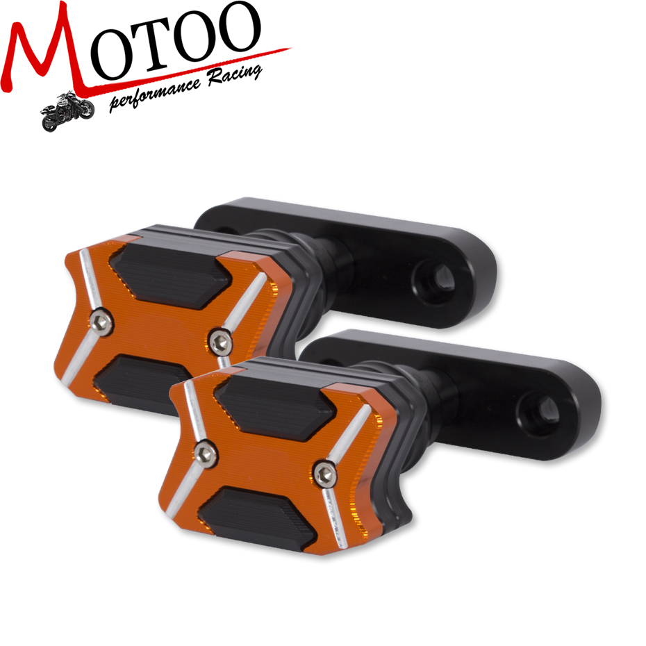 Motoo -2017 For KTM DUKE RC 125 250 390  NEW CNC Aluminum  Left and Right Motorcycle Frame Slider Anti Crash pads Protector new orange motorcycle parts for ktm duke 125 200 390 cnc rear axle spindle chain adjuster blocks fit for rc 125 200 high quality